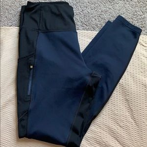 Athleta | long black and blue workout pants